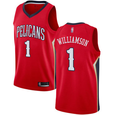 Pelicans #1 Zion Williamson Red Basketball Swingman Statement Edition Jersey