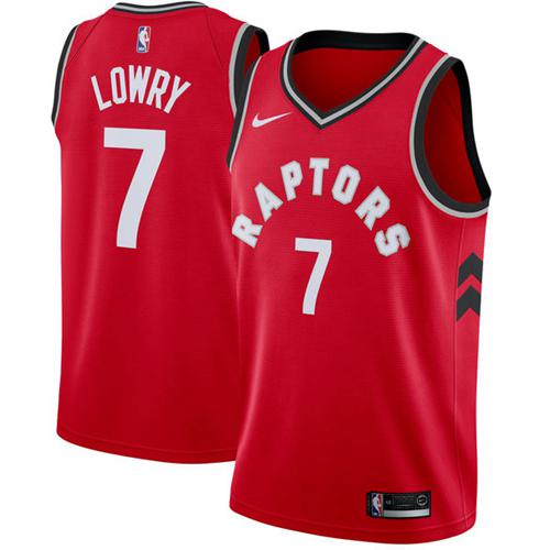 Raptors #7 Kyle Lowry Red Basketball Swingman Icon Edition Jersey