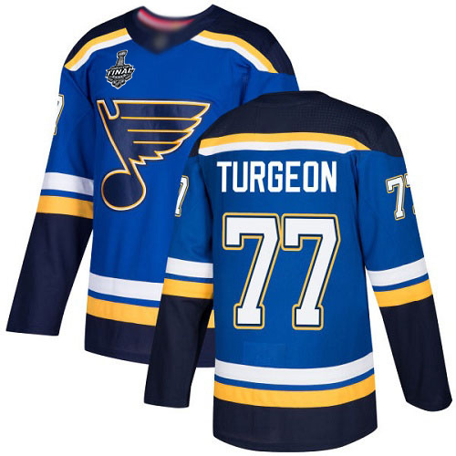 Men's St. Louis Blues #77 Pierre Turgeon Blue Home Authentic 2019 Stanley Cup Final Bound Stitched Hockey Jersey