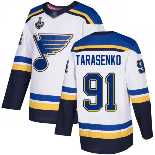 Men's St. Louis Blues #91 Vladimir Tarasenko White Road Authentic 2019 Stanley Cup Final Bound Stitched Hockey Jersey
