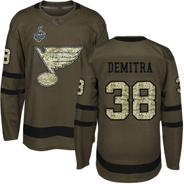 Men's St. Louis Blues #38 Pavol Demitra Green Salute to Service 2019 Stanley Cup Final Bound Stitched Hockey Jersey