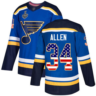 Men's St. Louis Blues #34 Jake Allen Blue Home Authentic USA Flag 2019 Stanley Cup Final Bound Stitched Hockey Jersey