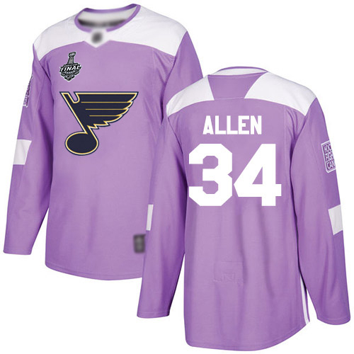 Men's St. Louis Blues #34 Jake Allen Purple Authentic Fights Cancer 2019 Stanley Cup Final Bound Stitched Hockey Jersey