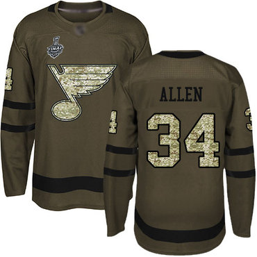 Men's St. Louis Blues #34 Jake Allen Green Salute to Service 2019 Stanley Cup Final Bound Stitched Hockey Jersey
