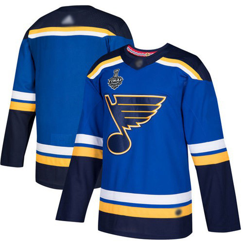 Men's St. Louis Blues Blank Blue Home Authentic 2019 Stanley Cup Final Bound Stitched Hockey Jersey