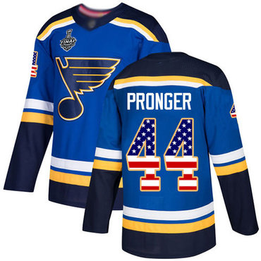 Men's St. Louis Blues #44 Chris Pronger Blue Home Authentic USA Flag 2019 Stanley Cup Final Bound Stitched Hockey Jersey