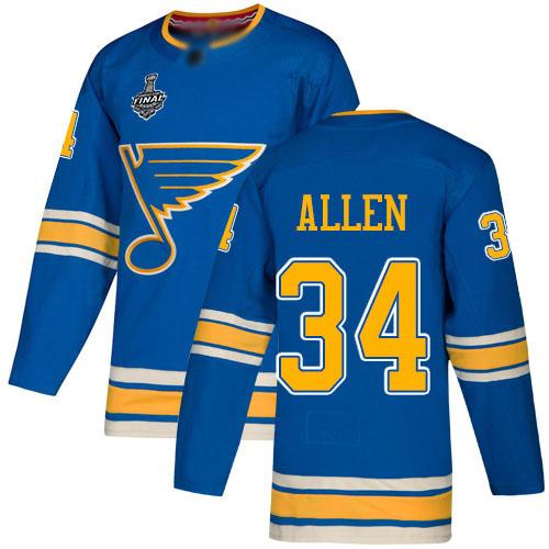 Men's St. Louis Blues #34 Jake Allen Blue Alternate Authentic 2019 Stanley Cup Final Bound Stitched Hockey Jersey