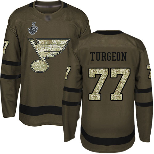 Men's St. Louis Blues #77 Pierre Turgeon Green Salute to Service 2019 Stanley Cup Final Bound Stitched Hockey Jersey