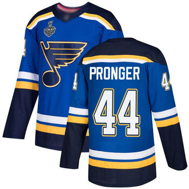 Men's St. Louis Blues #44 Chris Pronger Blue Home Authentic 2019 Stanley Cup Final Bound Stitched Hockey Jersey