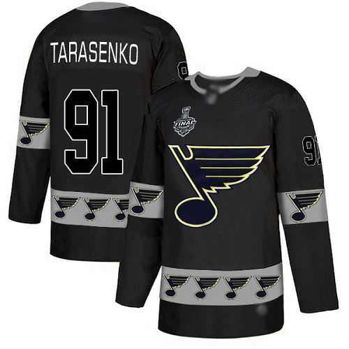 Men's St. Louis Blues #91 Vladimir Tarasenko Black Authentic Team Logo Fashion 2019 Stanley Cup Final Bound Stitched Hockey Jersey