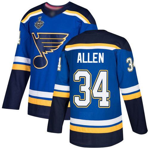 Men's St. Louis Blues #34 Jake Allen Blue Home Authentic 2019 Stanley Cup Final Bound Stitched Hockey Jersey