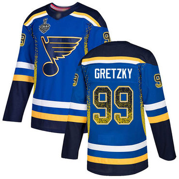 Men's St. Louis Blues #99 Wayne Gretzky Blue Home Authentic Drift Fashion 2019 Stanley Cup Final Bound Stitched Hockey Jersey