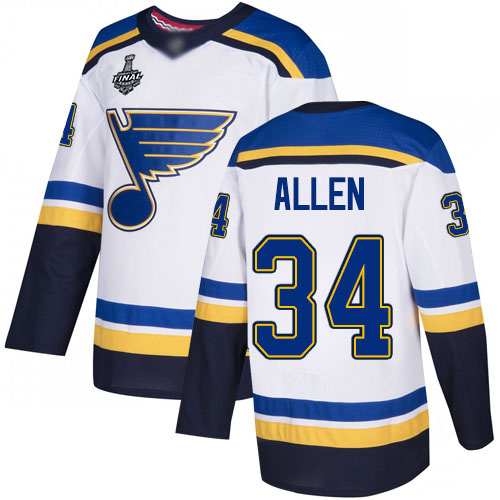Men's St. Louis Blues #34 Jake Allen White Road Authentic 2019 Stanley Cup Final Bound Stitched Hockey Jersey