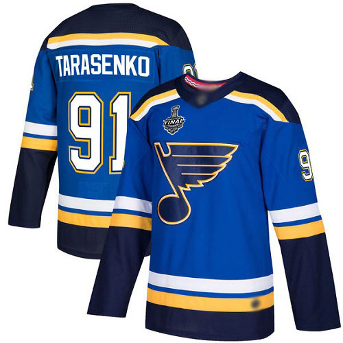 Men's St. Louis Blues #91 Vladimir Tarasenko Blue Home Authentic 2019 Stanley Cup Final Bound Stitched Hockey Jersey