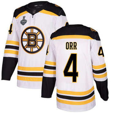 Men's Boston Bruins #4 Bobby Orr White Road Authentic 2019 Stanley Cup Final Bound Stitched Hockey Jersey