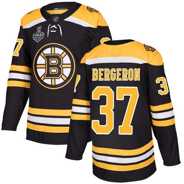Men's Boston Bruins #37 Patrice Bergeron Black Home Authentic 2019 Stanley Cup Final Bound Stitched Hockey Jersey