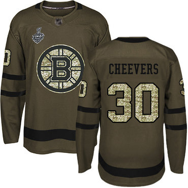 Men's Boston Bruins #30 Gerry Cheevers Green Salute to Service 2019 Stanley Cup Final Bound Stitched Hockey Jersey