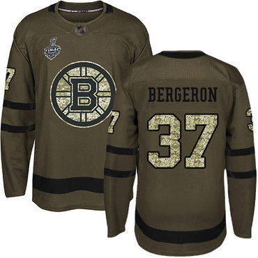 Men's Boston Bruins #37 Patrice Bergeron Green Salute to Service 2019 Stanley Cup Final Bound Stitched Hockey Jersey