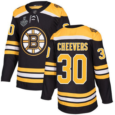 Men's Boston Bruins #30 Gerry Cheevers Black Home Authentic 2019 Stanley Cup Final Bound Stitched Hockey Jersey