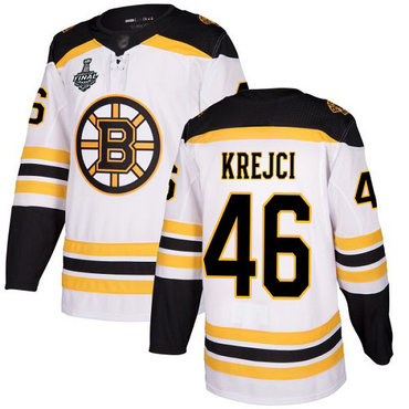 Men's Boston Bruins #46 David Krejci White Road Authentic 2019 Stanley Cup Final Bound Stitched Hockey Jersey