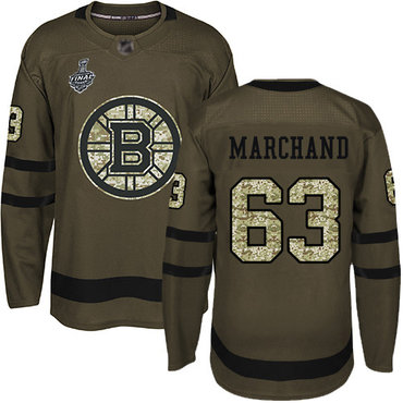 Men's Boston Bruins #63 Brad Marchand Green Salute to Service 2019 Stanley Cup Final Bound Stitched Hockey Jersey