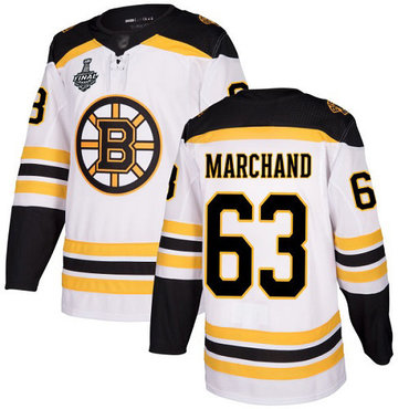 Men's Boston Bruins #63 Brad Marchand White Road Authentic 2019 Stanley Cup Final Bound Stitched Hockey Jersey