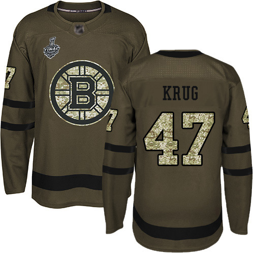 Men's Boston Bruins #47 Torey Krug Green Salute to Service 2019 Stanley Cup Final Bound Stitched Hockey Jersey