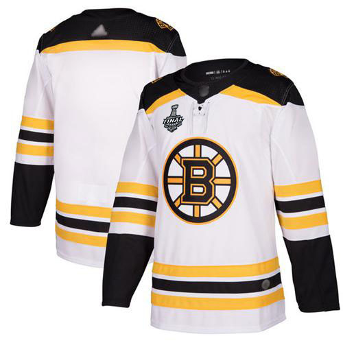 Men's Boston Bruins Blank White Road Authentic 2019 Stanley Cup Final Bound Stitched Hockey Jersey