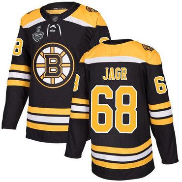 Men's Boston Bruins #68 Jaromir Jagr Black Home Authentic 2019 Stanley Cup Final Bound Stitched Hockey Jersey