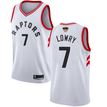 Raptors #7 Kyle Lowry White 2019 Finals Bound Youth Basketball Swingman Association Edition Jersey
