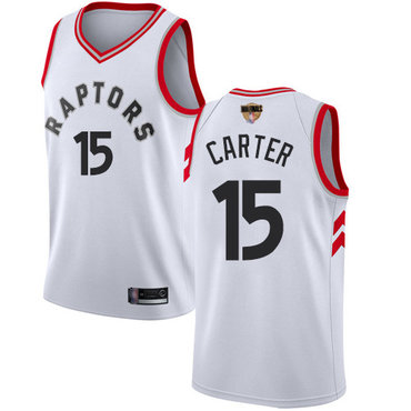 Raptors #15 Vince Carter White 2019 Finals Bound Youth Basketball Swingman Association Edition Jersey