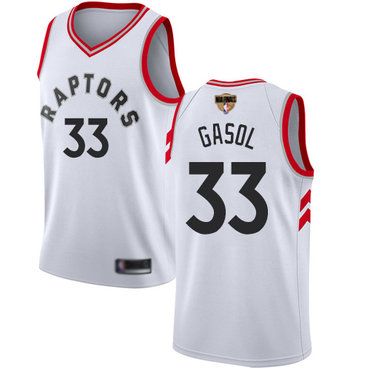 Raptors #33 Marc Gasol White 2019 Finals Bound Youth Basketball Swingman Association Edition Jersey