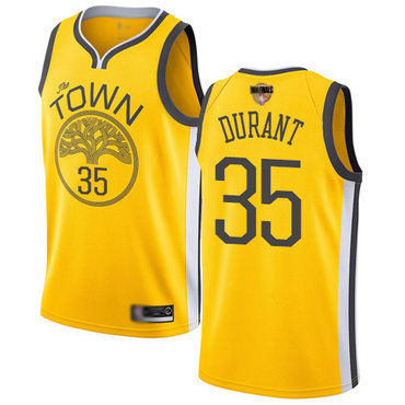 Warriors #35 Kevin Durant Gold 2019 Finals Bound Basketball Swingman Earned Edition Jersey