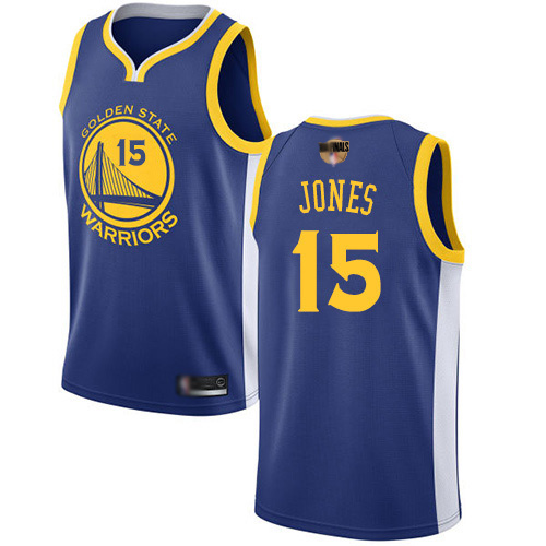 Warriors #15 Damian Jones Blue 2019 Finals Bound Basketball Swingman Icon Edition Jersey