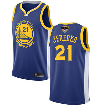 Warriors #21 Jonas Jerebko Blue 2019 Finals Bound Basketball Swingman Icon Edition Jersey