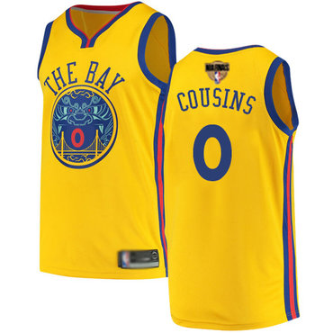 Warriors #0 DeMarcus Cousins Gold 2019 Finals Bound Basketball Swingman City Edition Jersey