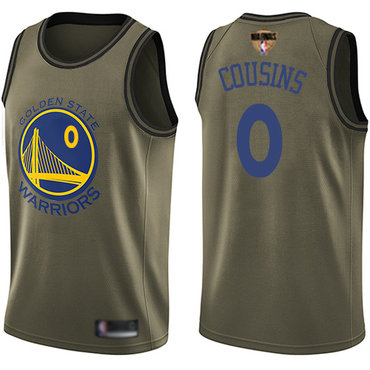 Warriors #0 DeMarcus Cousins Green 2019 Finals Bound Basketball Swingman Salute to Service Jersey