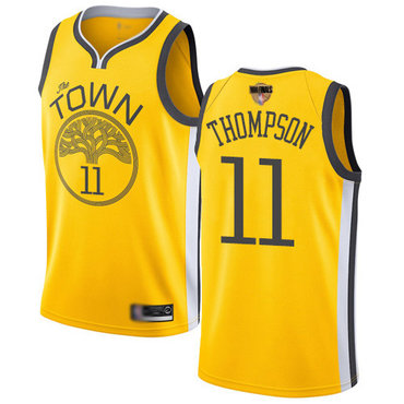 Warriors #11 Klay Thompson Gold 2019 Finals Bound Basketball Swingman Earned Edition Jersey