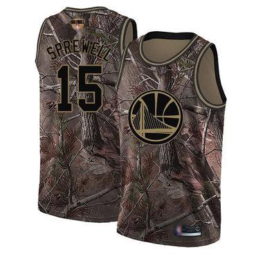 Warriors #15 Latrell Sprewell Camo 2019 Finals Bound Basketball Swingman Realtree Collection Jersey