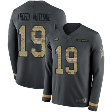 Eagles #19 JJ Arcega-Whiteside Anthracite Salute to Service Men's Stitched Football Limited Therma Long Sleeve Jersey