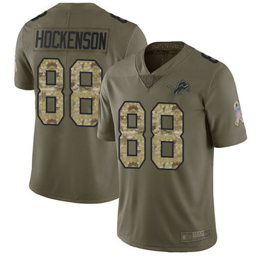 Lions #88 T.J. Hockenson Olive Camo Men's Stitched Football Limited 2017 Salute To Service Jersey