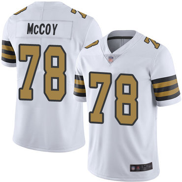 Saints #78 Erik McCoy White Men's Stitched Football Limited Rush Jersey