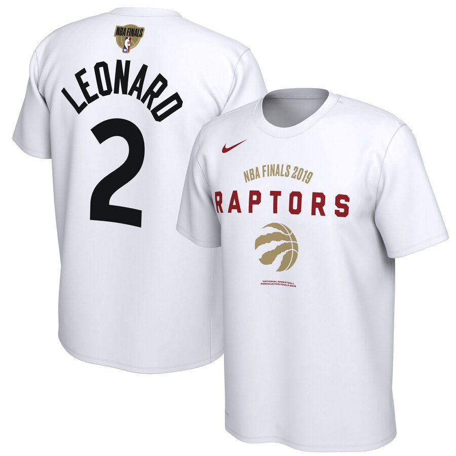 Toronto Raptors 2 Kawhi Leonard Nike 2019 NBA Finals Bound Name & Number T-Shirt White