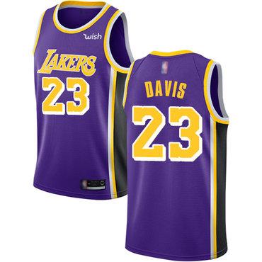 Youth Lakers #23 Anthony Davis Purple Basketball Swingman Statement Edition Jersey
