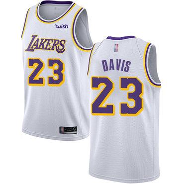 Youth Lakers #23 Anthony Davis White Basketball Swingman Association Edition Jersey