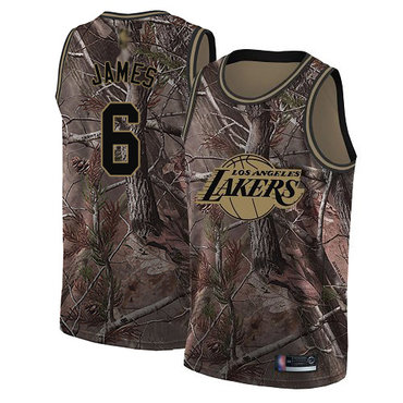 Youth Lakers #6 LeBron James Camo Basketball Swingman Realtree Collection Jersey