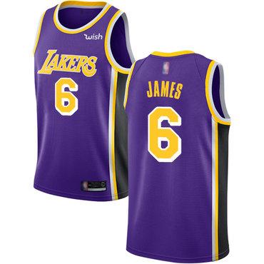 Youth Lakers #6 LeBron James Purple Basketball Swingman Statement Edition Jersey