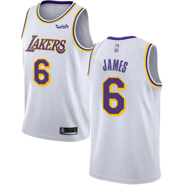 Youth Lakers #6 LeBron James White Basketball Swingman Association Edition Jersey