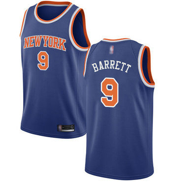 Youth Knicks #9 R.J. Barrett Blue Basketball Swingman Icon Edition Jersey