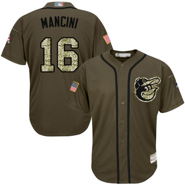 Youth Orioles #16 Trey Mancini Green Salute to Service Stitched Baseball Jersey